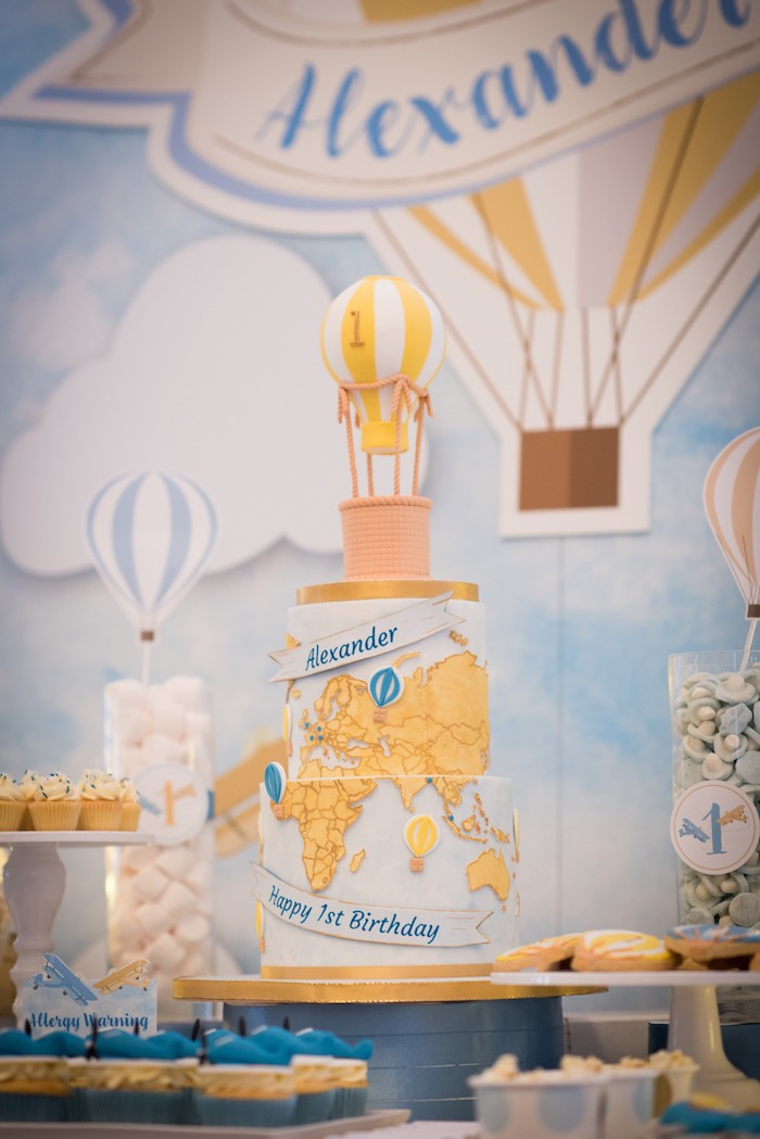 Hot Air Balloon + Map Cake from a Vintage Travel + Hot Air Balloon Party on Kara's Party Ideas | KarasPartyIdeas.com (25)