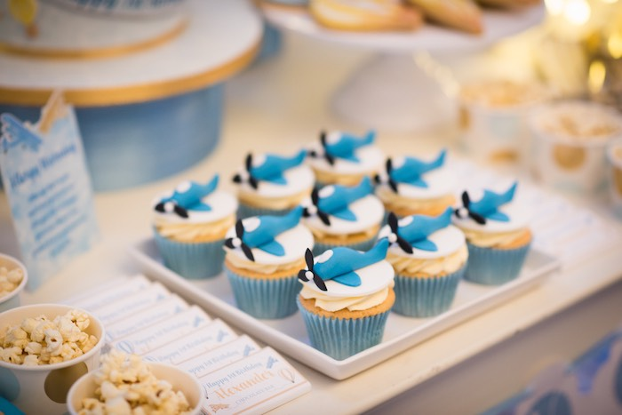 Vintage Airplane Cupcakes from a Vintage Travel + Hot Air Balloon Party on Kara's Party Ideas | KarasPartyIdeas.com (24)