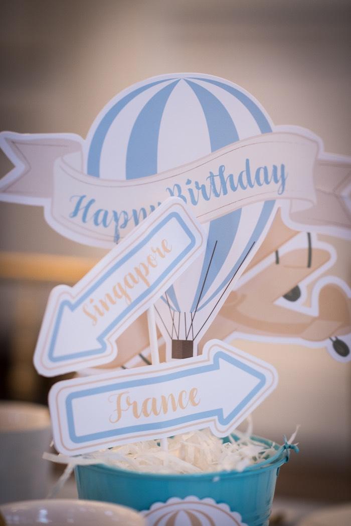 Hot Air Balloon + Destination Bucket Centerpieces from a Vintage Airplane + Hot Air Balloon Bucket Centerpieces from a Vintage Travel + Hot Air Balloon Party on Kara's Party Ideas | KarasPartyIdeas.com (22)