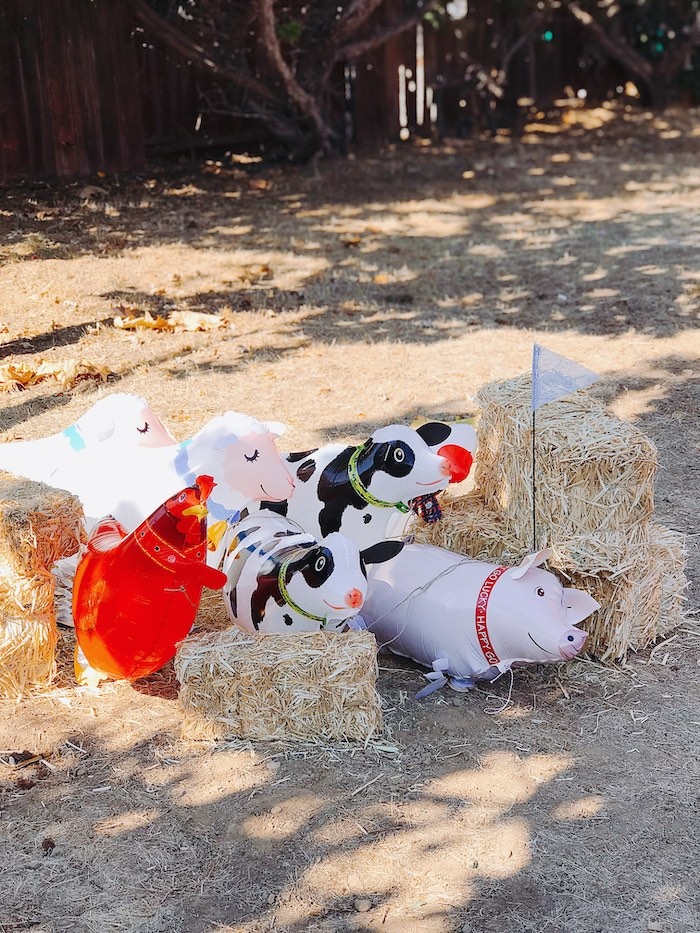 Farm Animal Balloons from a Modern Farm Birthday Party on Kara's Party Ideas | KarasPartyIdeas.com