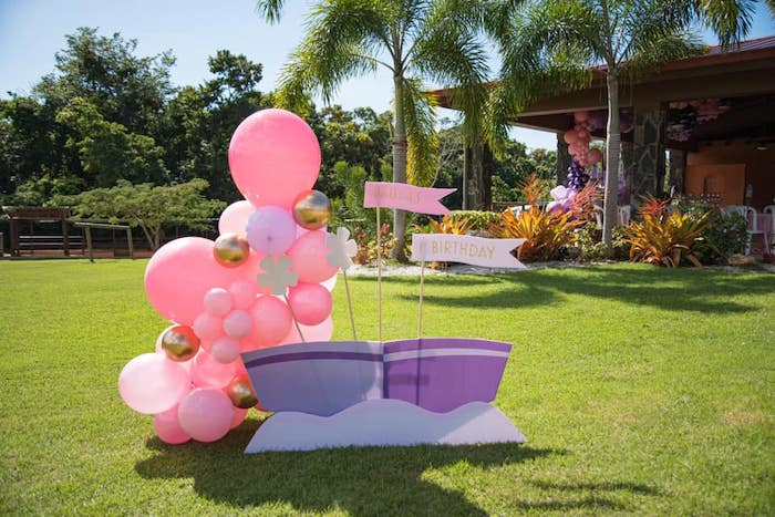 """It's a Small World"" inspired Balloon Install from an ""It's a Small World"" Birthday Party on Kara's Party Ideas 