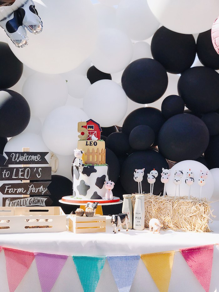 Farm Birthday Party Dessert Table from a Modern Farm Birthday Party on Kara's Party Ideas | KarasPartyIdeas.com