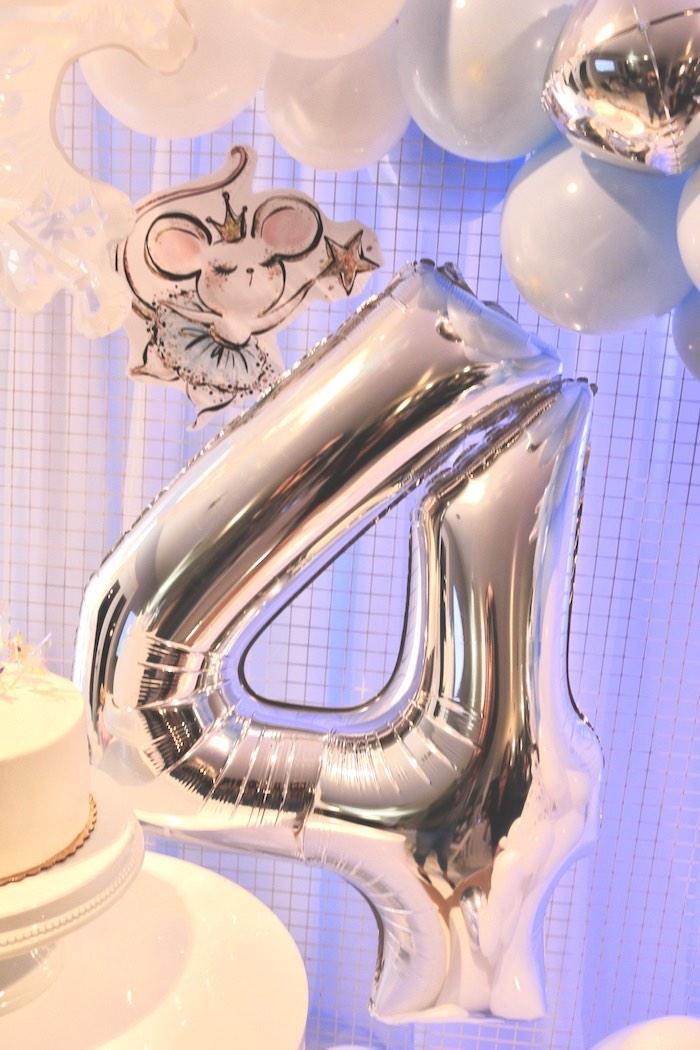 "Silver Mylar Balloon ""4"" from an Arctic Wonderland Birthday Party on Kara's Party Ideas   KarasPartyIdeas.com (13)"