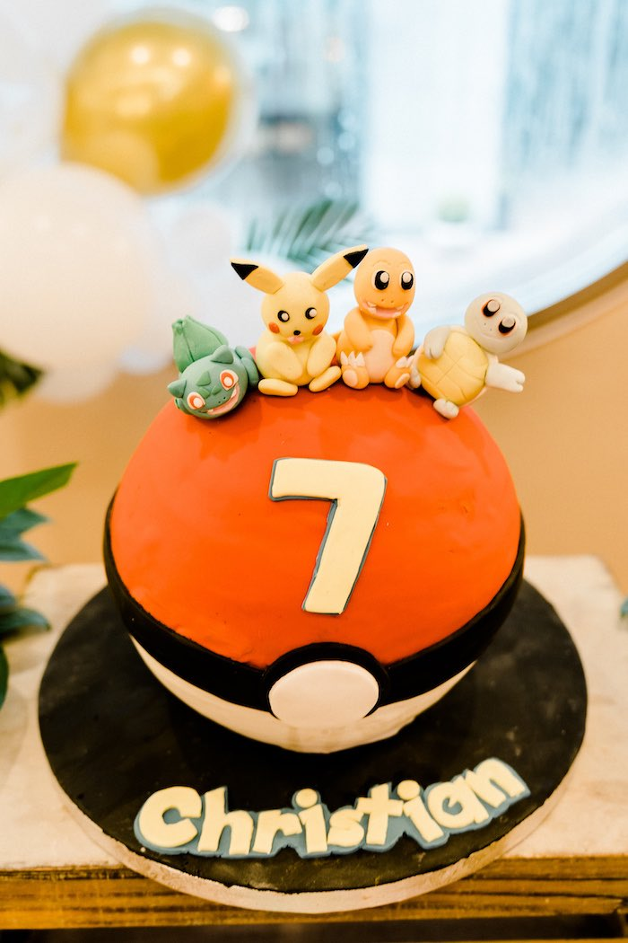 Pokeball Pokemon Cake from a Boho Pokemon Birthday Party on Kara's Party Ideas | KarasPartyIdeas.com (31)