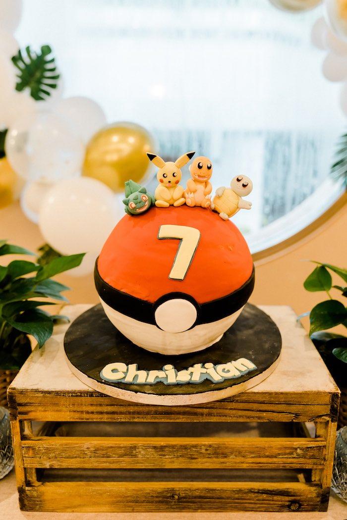 Pokeball Pokemon Cake from a Boho Pokemon Birthday Party on Kara's Party Ideas | KarasPartyIdeas.com (30)