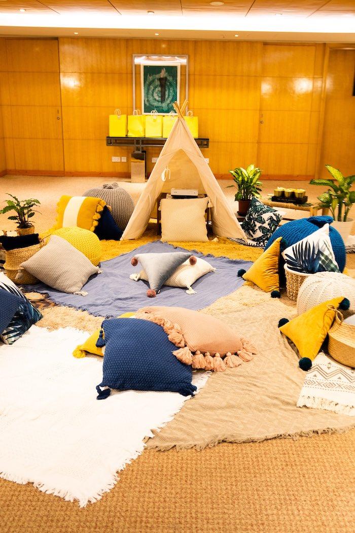 Boho Picnic Lounge from a Boho Pokemon Birthday Party on Kara's Party Ideas | KarasPartyIdeas.com (22)