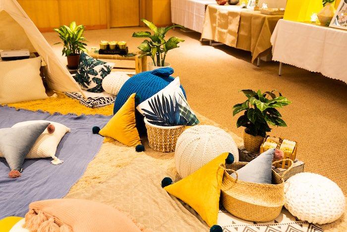 Boho Picnic Lounge from a Boho Pokemon Birthday Party on Kara's Party Ideas | KarasPartyIdeas.com (19)
