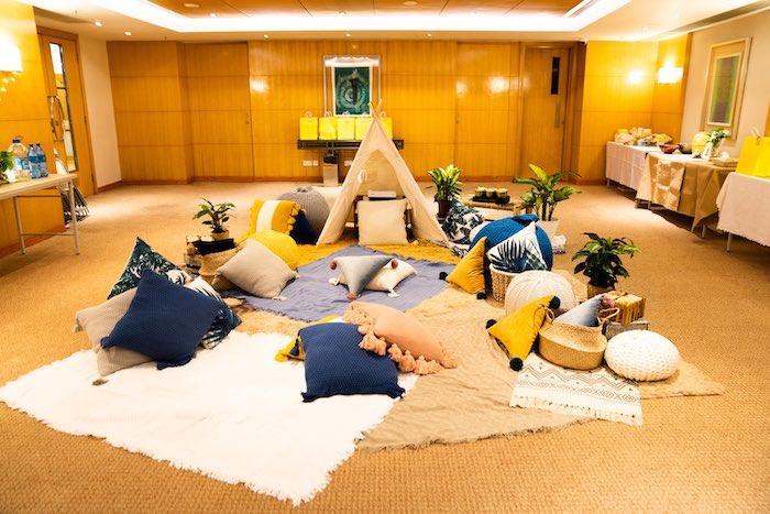 Boho Picnic Lounge from a Boho Pokemon Birthday Party on Kara's Party Ideas | KarasPartyIdeas.com (18)