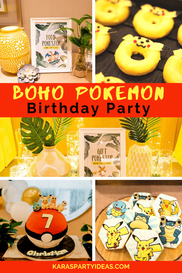 Boho Pokemon Birthday Party via Kara's Party Ideas - KarasPartyIdeas.com