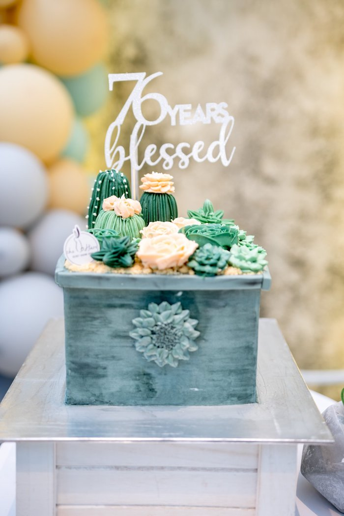 Cactus & Succulent Planter-shaped Birthday Cake from a Cactus & Succulent Birthday Party on Kara's Party Ideas | KarasPartyIdeas.com (24)