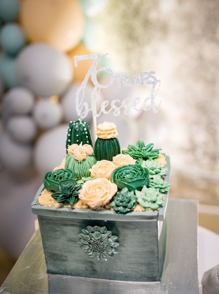 Cactus & Succulent Planter-shaped Birthday Cake from a Cactus & Succulent Birthday Party on Kara's Party Ideas | KarasPartyIdeas.com (21)