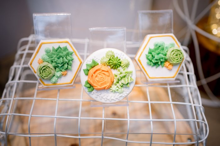 Succulent Frosted Cookies from a Cactus & Succulent Birthday Party on Kara's Party Ideas | KarasPartyIdeas.com (19)
