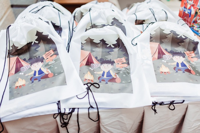 Custom Printed Drawstring Favor Bags from a Camping Outdoor Adventure Birthday Party on Kara's Party Ideas | KarasPartyIdeas.com (20)