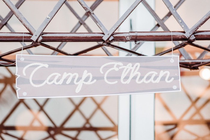 Custom Camp Sign from a Camping Outdoor Adventure Birthday Party on Kara's Party Ideas | KarasPartyIdeas.com (17)
