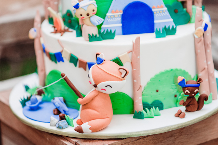 Woodland Camping Cake from a Camping Outdoor Adventure Birthday Party on Kara's Party Ideas | KarasPartyIdeas.com (34)