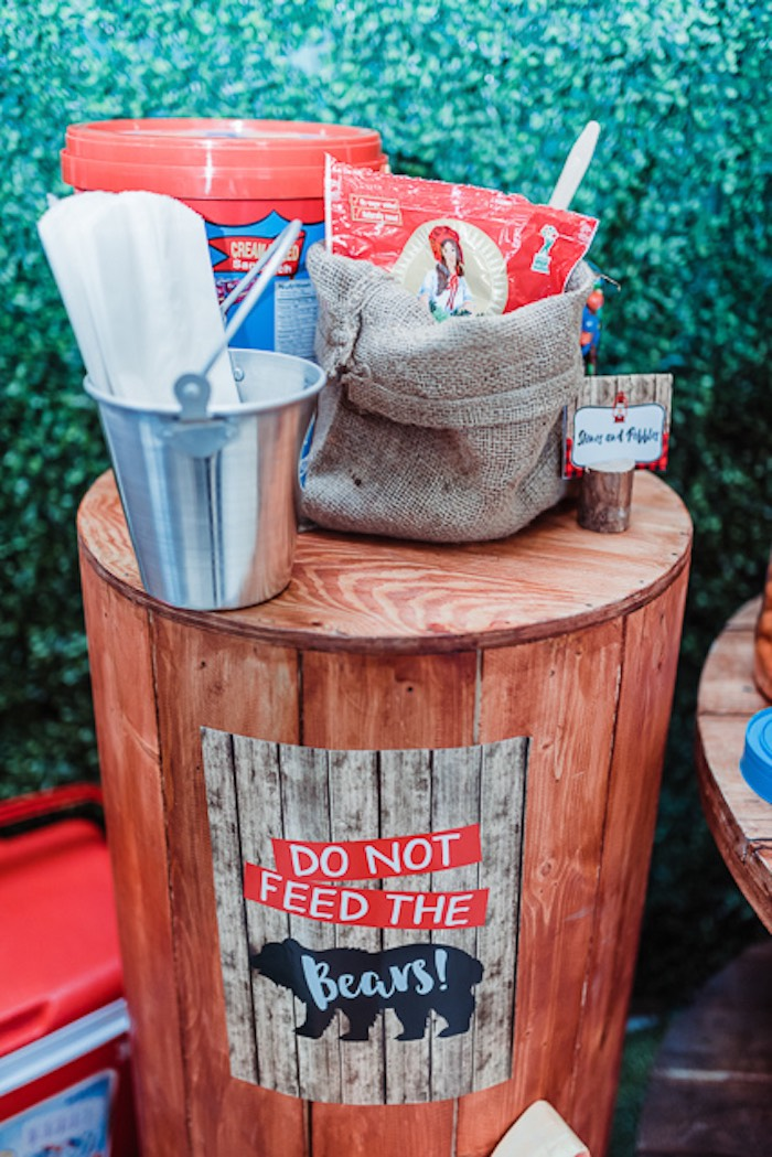 Do Not Feed the Bears Barrel Table from a Camping Outdoor Adventure Birthday Party on Kara's Party Ideas | KarasPartyIdeas.com (13)
