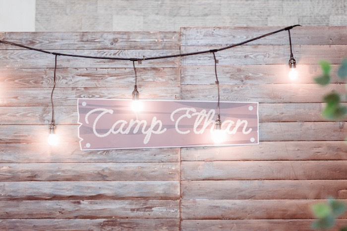 Custom Camp Sign illuminated by a Light Strand from a Camping Outdoor Adventure Birthday Party on Kara's Party Ideas | KarasPartyIdeas.com (31)
