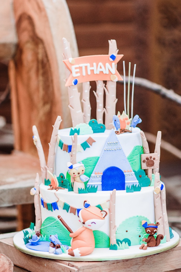 Camp Themed Birthday Cake from a Camping Outdoor Adventure Birthday Party on Kara's Party Ideas | KarasPartyIdeas.com (30)