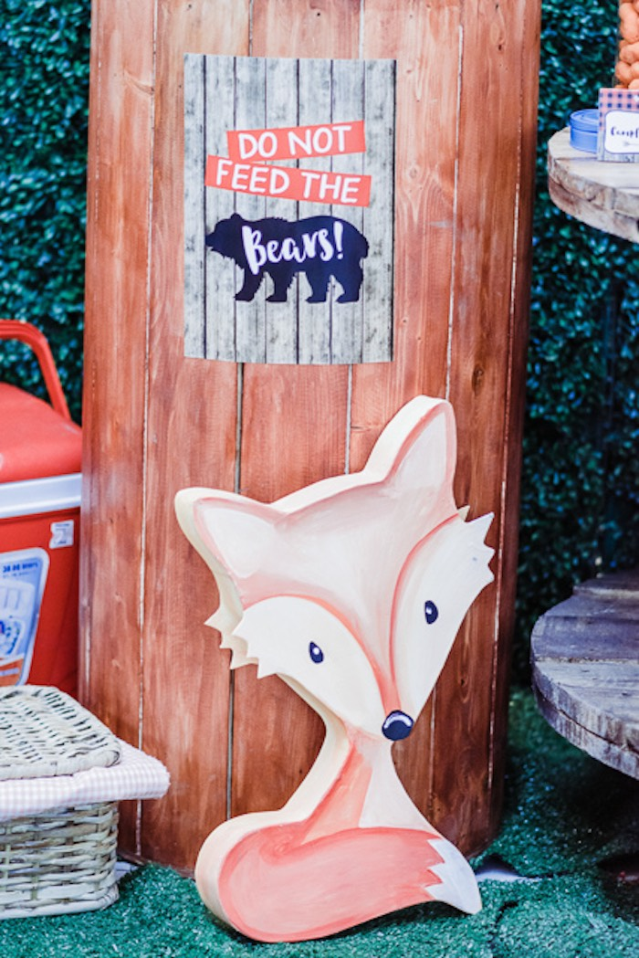 Fox Prop + Standee from a Camping Outdoor Adventure Birthday Party on Kara's Party Ideas | KarasPartyIdeas.com (28)