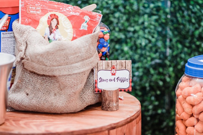 Burlap Goodie Sack + Log Label from a Camping Outdoor Adventure Birthday Party on Kara's Party Ideas | KarasPartyIdeas.com (26)