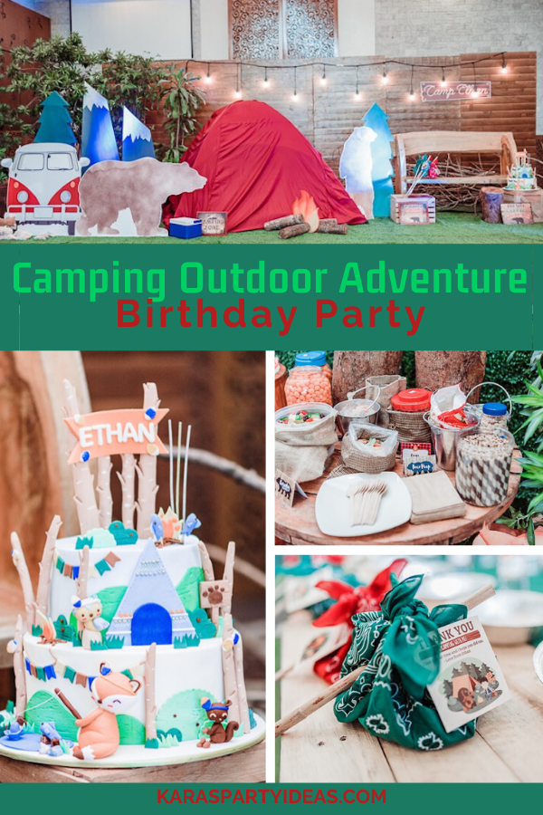 Camping Outdoor Adventure Birthday Party via Kara's Party Ideas - KarasPartyIdeas.com