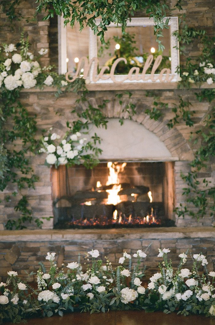 Greenery-covered Fireplace from a Country Winter Lodge Wedding on Kara's Party Ideas | KarasPartyIdeas.com (24)
