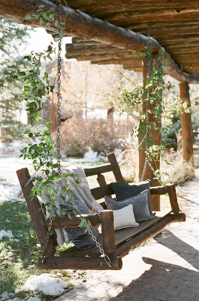 Wooden Swing with Leaf Garland Chains from a Country Winter Lodge Wedding on Kara's Party Ideas | KarasPartyIdeas.com (23)