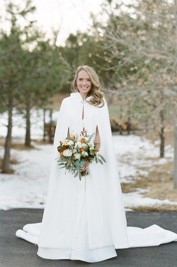 Winter Wedding Dress from a Country Winter Lodge Wedding on Kara's Party Ideas | KarasPartyIdeas.com (17)