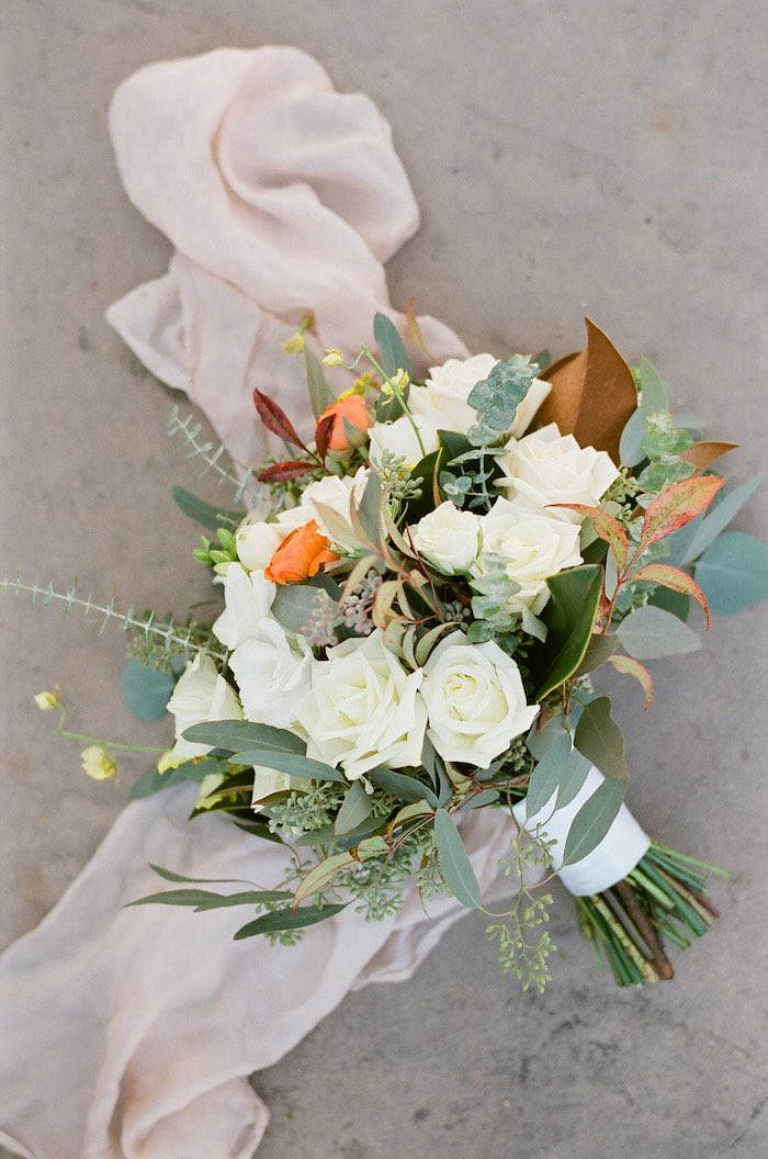 White + Green and Orange Bridal Bouquet from a Country Winter Lodge Wedding on Kara's Party Ideas | KarasPartyIdeas.com (16)