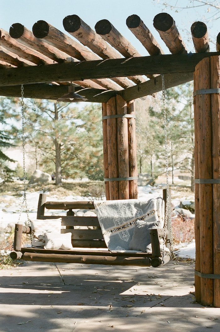 Wooden Swing from a Country Winter Lodge Wedding on Kara's Party Ideas | KarasPartyIdeas.com (15)