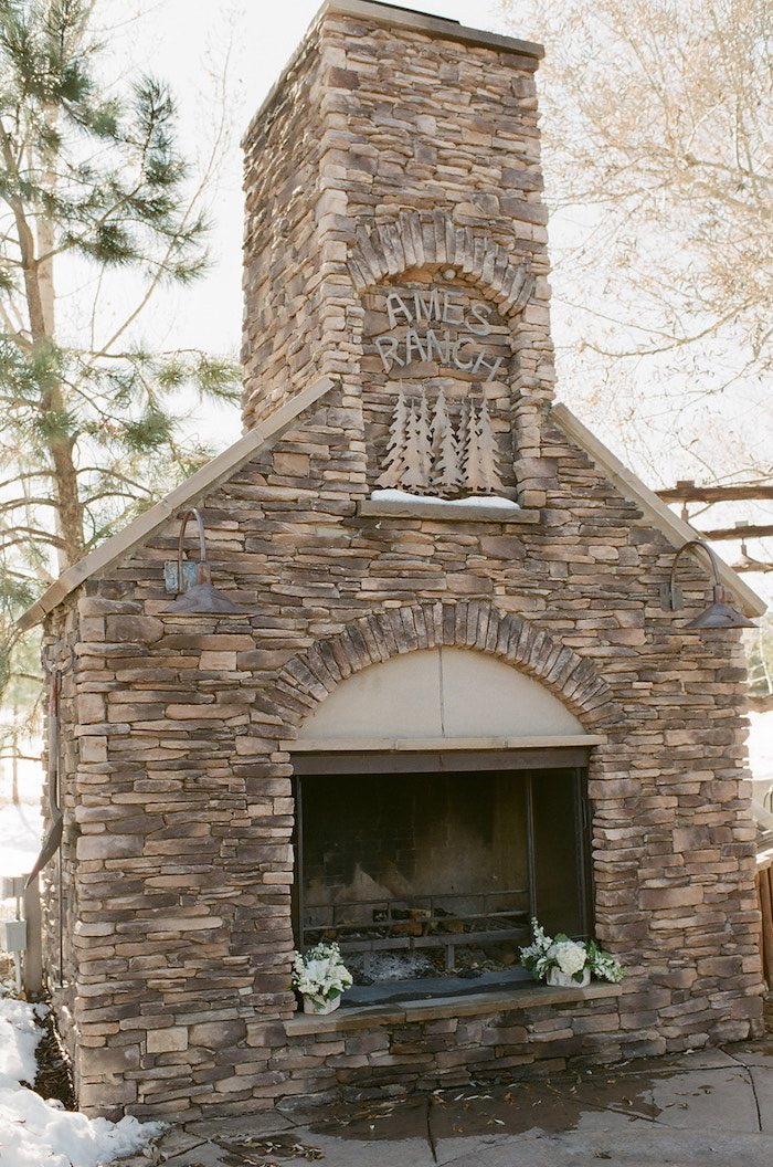 Outdoor Stone Fireplace from a Country Winter Lodge Wedding on Kara's Party Ideas | KarasPartyIdeas.com (14)