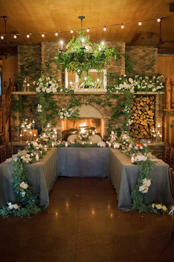 Head Table from a Country Winter Lodge Wedding on Kara's Party Ideas | KarasPartyIdeas.com (11)