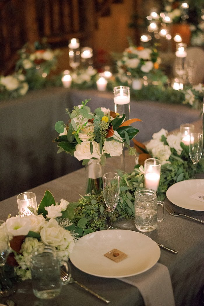 Guest Table + Table Settings from a Country Winter Lodge Wedding on Kara's Party Ideas | KarasPartyIdeas.com (10)
