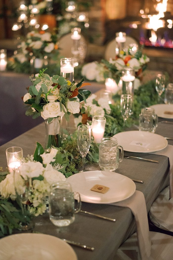 Guest Table + Table Settings from a Country Winter Lodge Wedding on Kara's Party Ideas | KarasPartyIdeas.com (9)