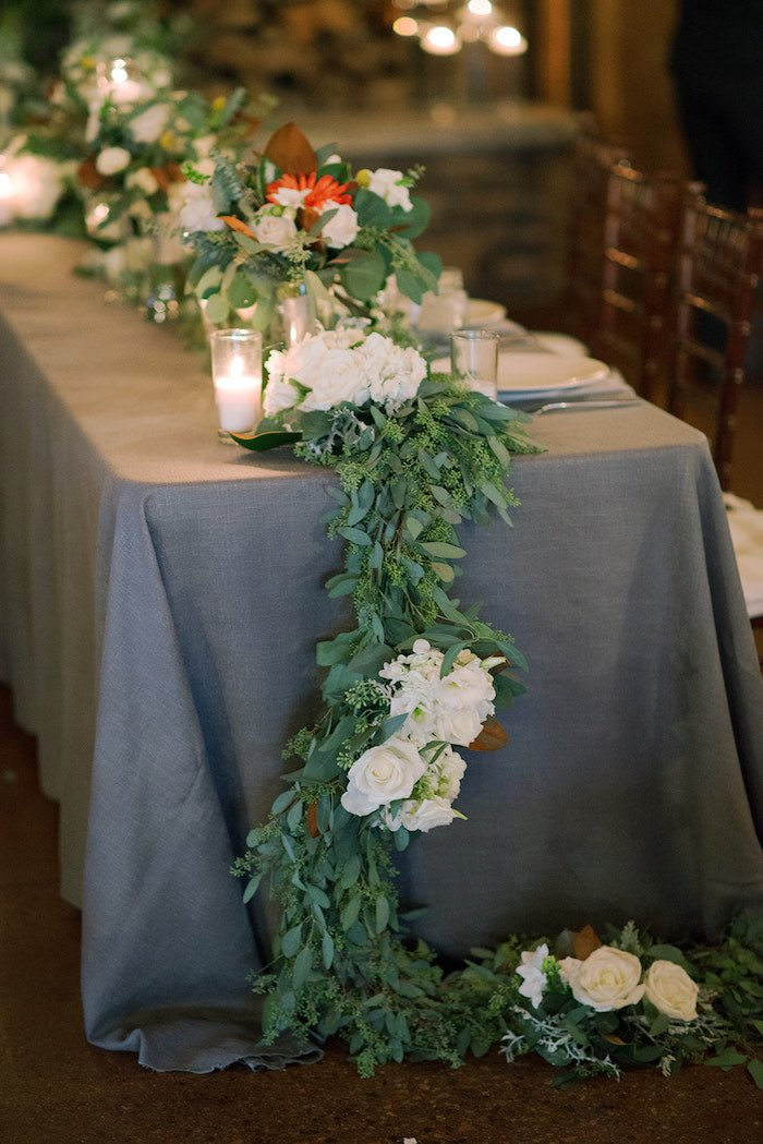 Leaf Runner from a Country Winter Lodge Wedding on Kara's Party Ideas | KarasPartyIdeas.com (4)