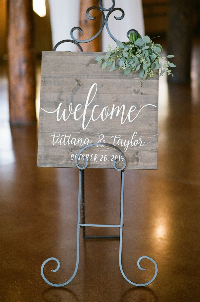 Wood Welcome Sign from a Country Winter Lodge Wedding on Kara's Party Ideas | KarasPartyIdeas.com (34)