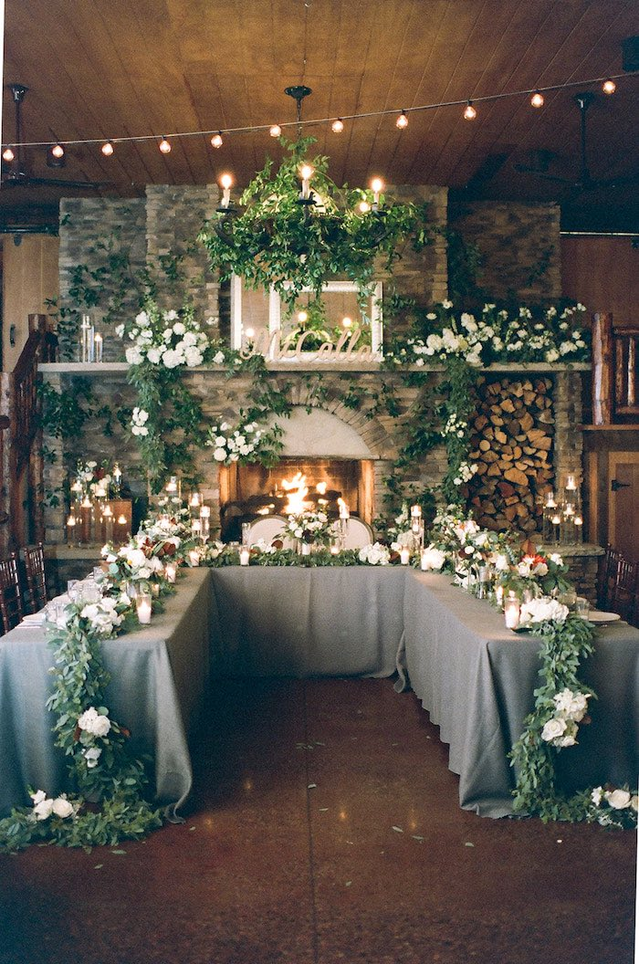 Head Table from a Country Winter Lodge Wedding on Kara's Party Ideas | KarasPartyIdeas.com (31)