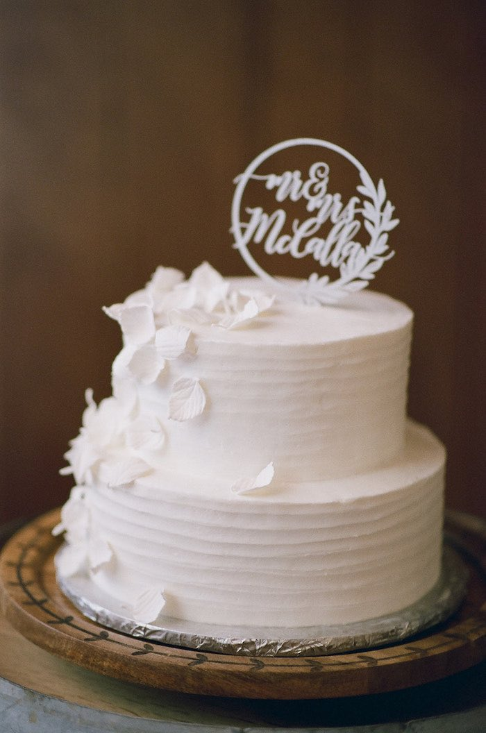 White Wedding Cake from a Country Winter Lodge Wedding on Kara's Party Ideas | KarasPartyIdeas.com (30)
