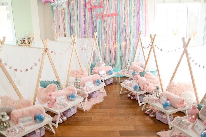 Slumber Party Tents from a Dolly & Me Sleepover on Kara's Party Ideas | KarasPartyIdeas.com (37)