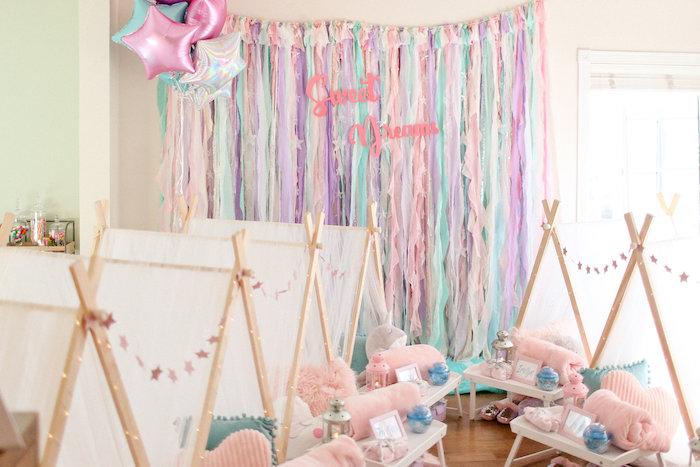 Sweet Dreams Tassel Backdrop from a Dolly & Me Sleepover on Kara's Party Ideas | KarasPartyIdeas.com (36)