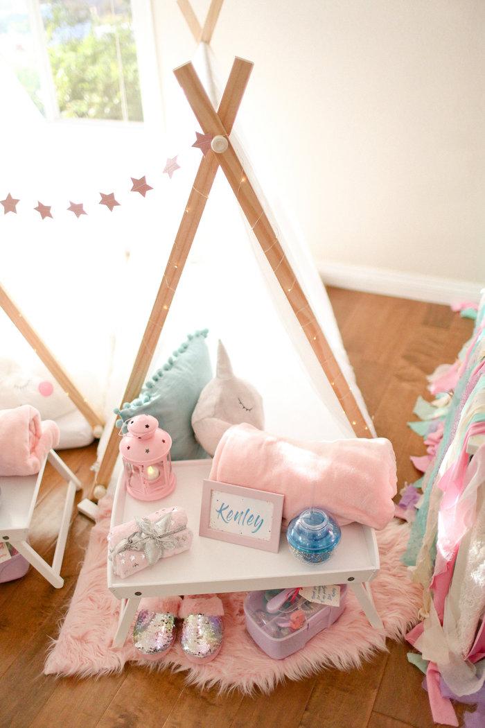 Sleepover Tent from a Dolly & Me Sleepover on Kara's Party Ideas | KarasPartyIdeas.com (29)