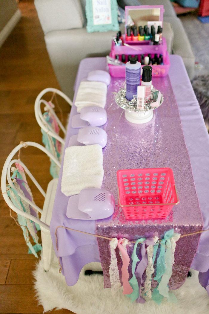 Manicure Table from a Dolly & Me Sleepover on Kara's Party Ideas | KarasPartyIdeas.com (26)