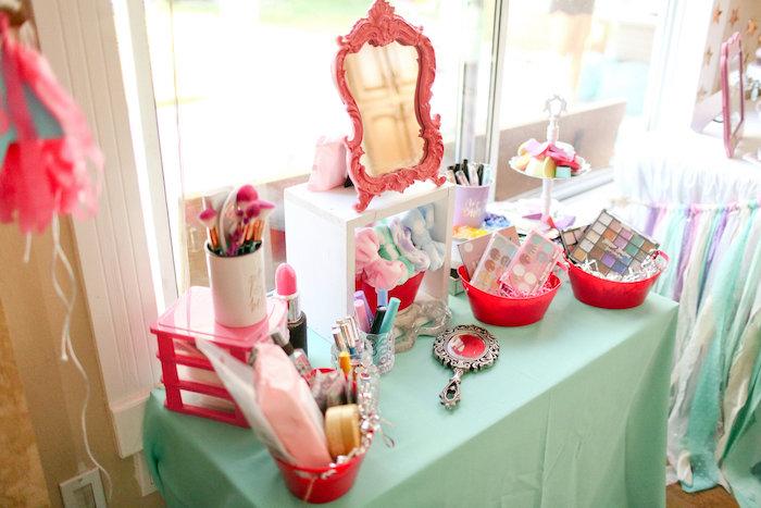 Makeup Table from a Dolly & Me Sleepover on Kara's Party Ideas | KarasPartyIdeas.com (25)