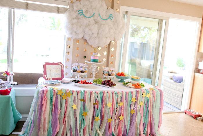 Dreaming Cloud Dessert Table from a Dolly & Me Sleepover on Kara's Party Ideas | KarasPartyIdeas.com (23)