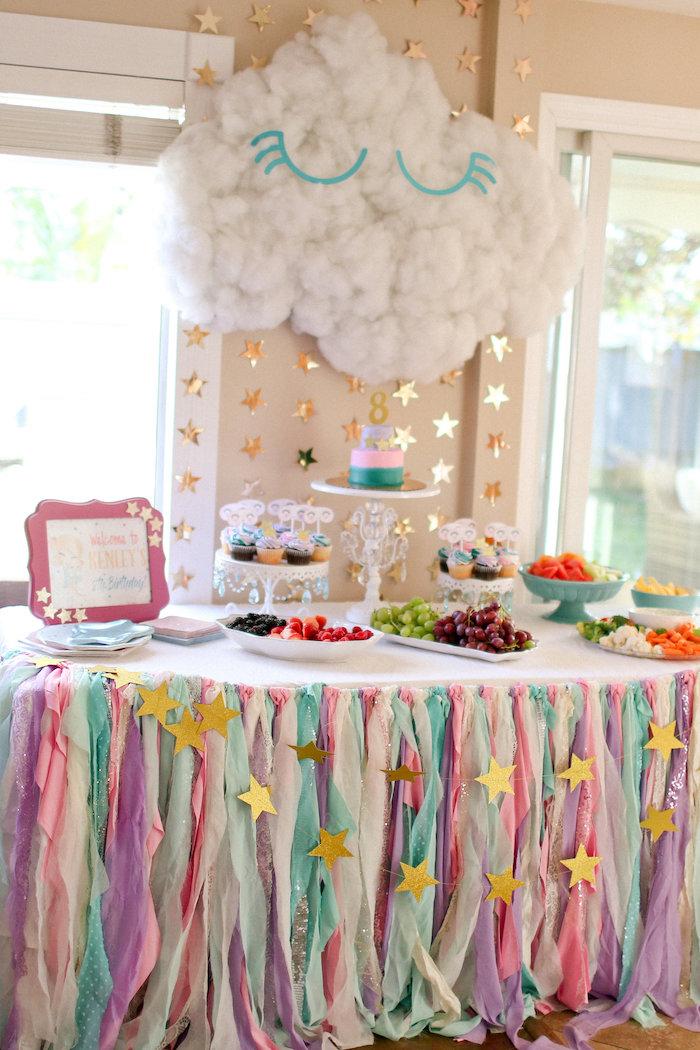Dreaming Cloud Dessert Table from a Dolly & Me Sleepover on Kara's Party Ideas | KarasPartyIdeas.com (22)