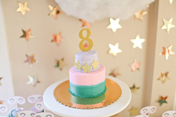 Tri-colored Cake adorned with Stars from a Dolly & Me Sleepover on Kara's Party Ideas | KarasPartyIdeas.com (18)