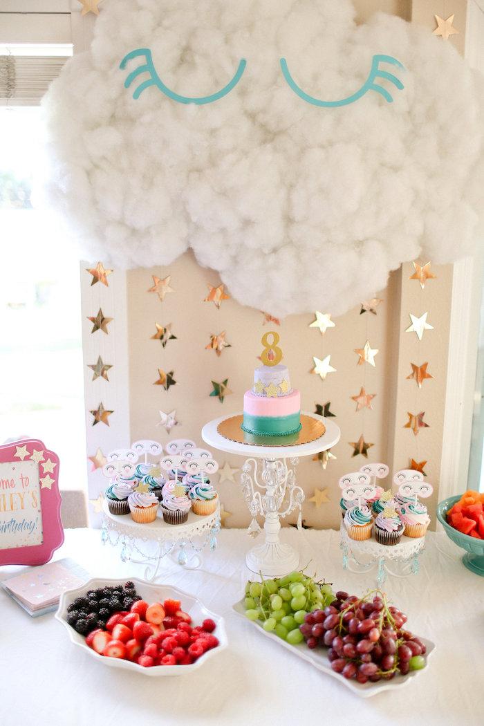 Sleeping Cloud Dessert Table from a Dolly & Me Sleepover on Kara's Party Ideas | KarasPartyIdeas.com (16)
