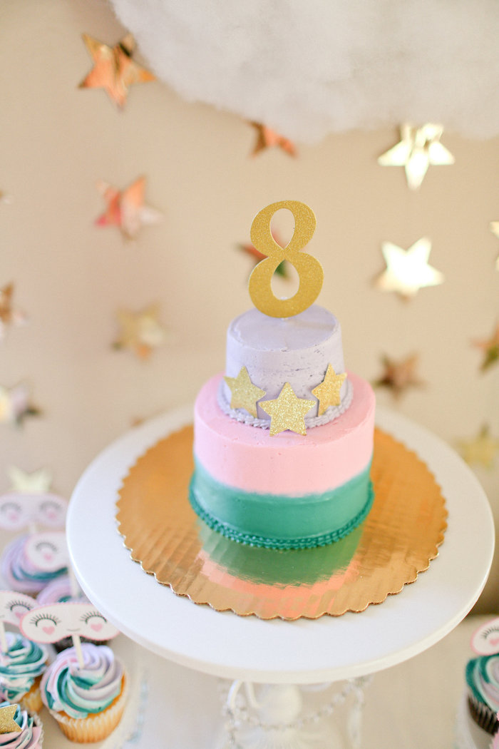Tri-colored Cake adorned with Stars from a Dolly & Me Sleepover on Kara's Party Ideas | KarasPartyIdeas.com (15)