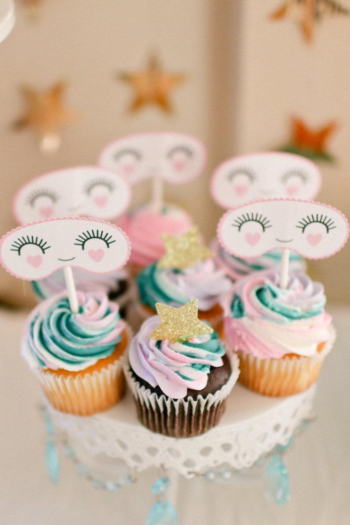 Sweet Dream Cupcakes from a Dolly & Me Sleepover on Kara's Party Ideas | KarasPartyIdeas.com (14)