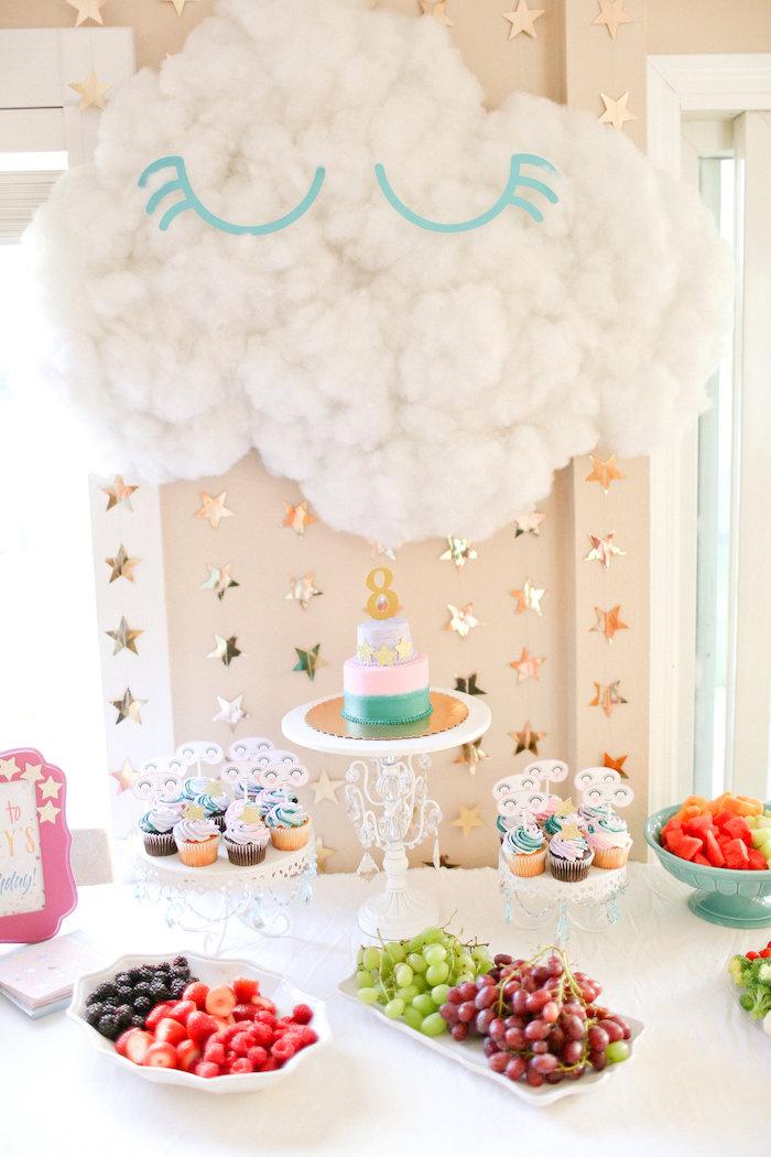 Sleeping Cloud Dessert Table from a Dolly & Me Sleepover on Kara's Party Ideas | KarasPartyIdeas.com (12)